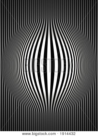 Op Art Bulging Vertical Stripes Black And White Two