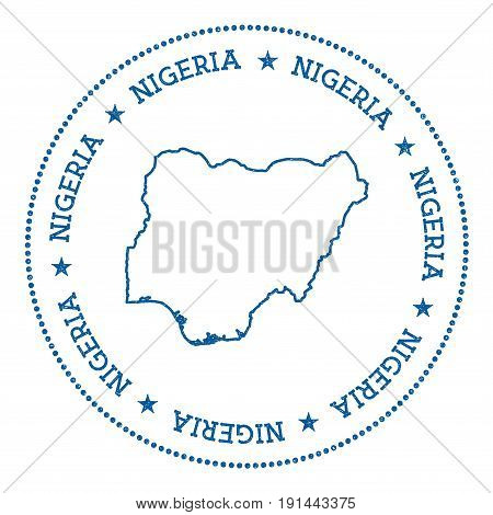 Nigeria Vector Map Sticker. Hipster And Retro Style Badge With Nigeria Map. Minimalistic Insignia Wi