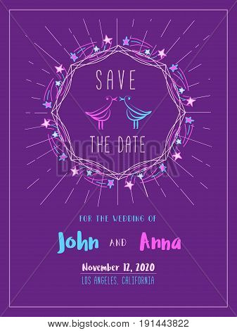 Save the Date Card template. Marriage invitation card with custom sign. Hand drawn fancy style. Colorful couple of birds lovers. Wedding day announcement. Stylish vintage poster. Vector illustration