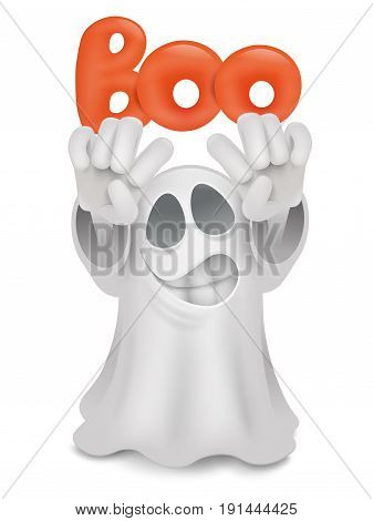 Cartoon ghost emoji character with boo title. Vector illustration
