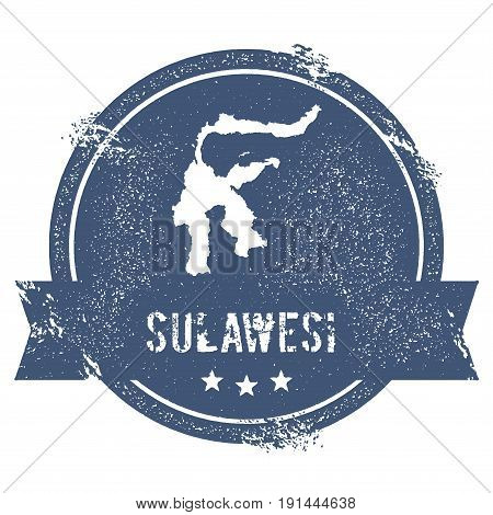 Sulawesi Logo Sign. Travel Rubber Stamp With The Name And Map Of Island, Vector Illustration. Can Be