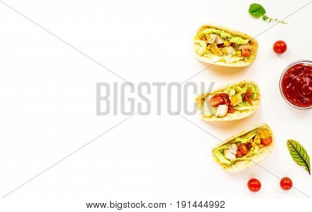 Healthy Mexican Tacos With Vegetables, Chicken Fillet, Tomato, Tortillas, Salad, Corn On White Backg