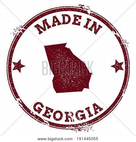 Georgia Vector Seal. Vintage Usa State Map Stamp. Grunge Rubber Stamp With Made In Georgia Text And