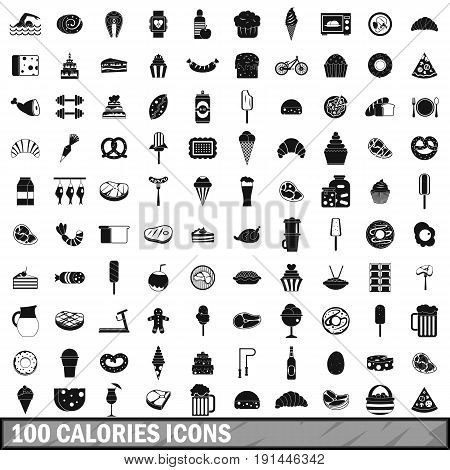 100 calories icons set in simple style for any design vector illustration