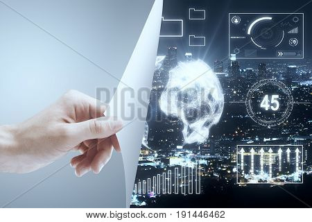 Male hand flipping abstract page revealing illuminated night city with digital globe and business charts. Innovation concept. 3D Rendering