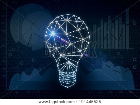 Polygonal lamp on dark background with business charts. Idea concept. 3D Rendering