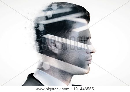 Side view of young businessman and maze on light background. Trouble concept. Double exposure