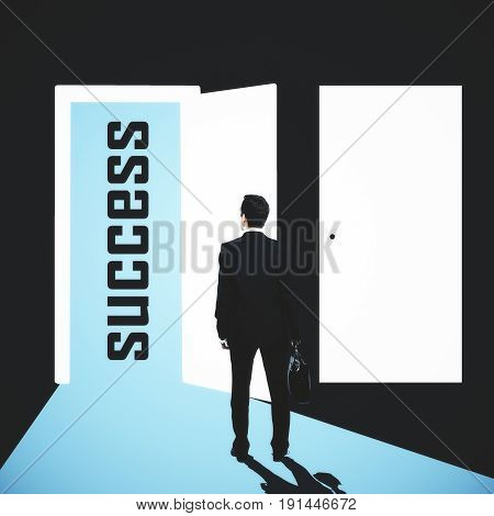 Back view of young businessman in abstract interior looking at open opportunity door. Success concept. 3D Rendering
