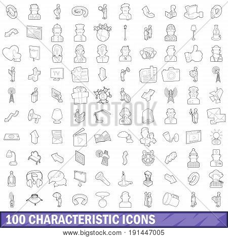 100 characteristic icons set in outline style for any design vector illustration