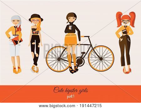 Hipster cute girls isolated on background. Vector fashion illustration set with various accessories hairstyle with smiling faces in casual clothes. Girl in hat girl with bicycle girl with coffee.