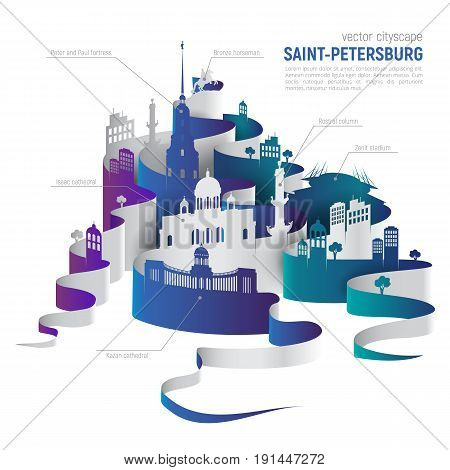 Saint-Petersburg vector cityscape. Vector monuments set for travel infographics. Use this vector illustration for design your website or print publications