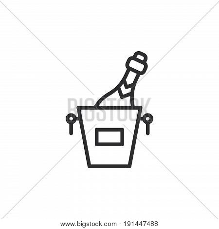 Champagne ice bucket line icon outline vector sign linear style pictogram isolated on white. Symbol logo illustration. Editable stroke. Pixel perfect