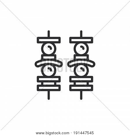 Brochette line icon outline vector sign linear style pictogram isolated on white. Kebab symbol logo illustration. Editable stroke. Pixel perfect