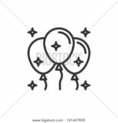Helium Balloons line icon outline vector sign linear style pictogram isolated on white. Party symbol logo illustration. Editable stroke. Pixel perfect