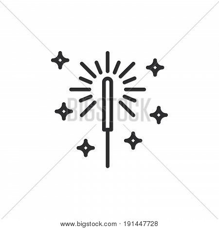 Sparkler Firework line icon outline vector sign linear style pictogram isolated on white. Symbol logo illustration. Editable stroke. Pixel perfect