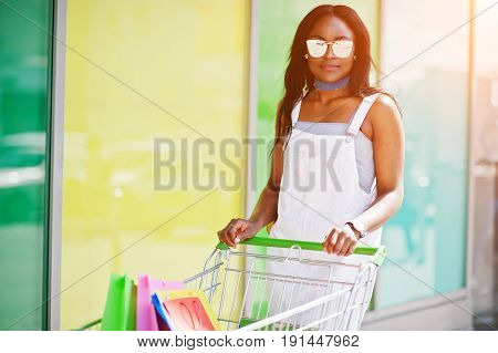Portrait Of A Fantastic African American Woman With Sunglasses Holding Multicolored Bags Next To The