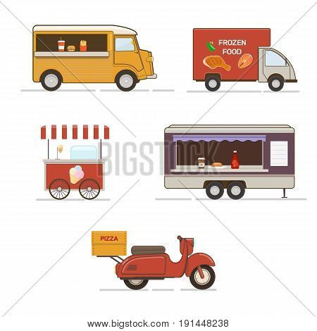 Vector set of street food transport.  Food delivery vehicles,  mobile food truck trailer and pizza delivery scooter