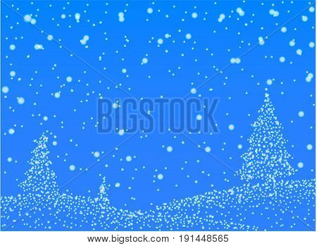 Abstract falling snow.  gradient circles of falling snow on blue background. Vector illustration.
