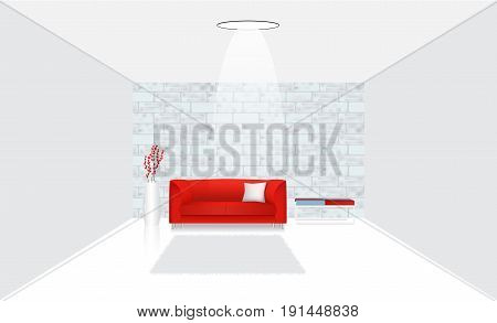 Realistic interior with settee and table against a brick wall. Modern Living room. Vector illustration.