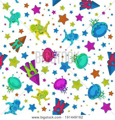 Vector colorful pattern to 12 April Cosmonautics Day. An astronaut or cosmonaut in outer space with flying rocket and ufo isolated on white background. Can be used for printing on textile or gift wrap and wallpapers.