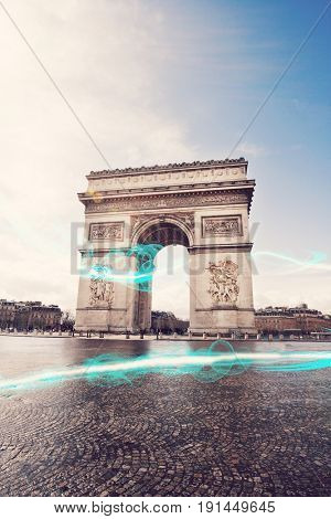 Blue streak of lights at Arc de Triomphe