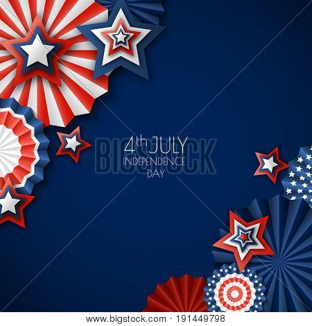 4Th Of July, Usa Independence Day. Vector Paper Stars In Usa Flag Colors. Blue Background With Place