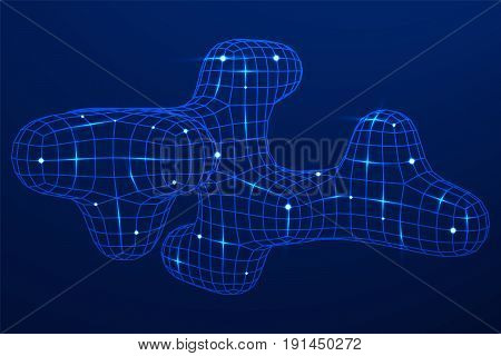 Mesh low poly wireframe cubes smooth element. Connected lines. Connection Box Structure. Digital Data Visualization Concept. Vector Illustration.
