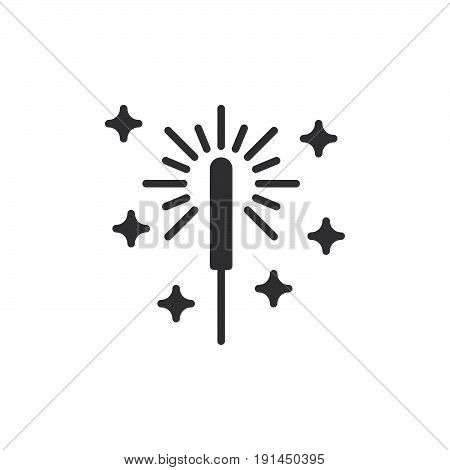 Sparkler firework icon vector filled flat sign solid pictogram isolated on white. Symbol logo illustration. Pixel perfect
