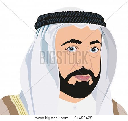 June 16, 2017: Portrait illustration of His Highness Sheikh SULTAN BIN MOHAMMED BIN SULTAN AL QASIMI Ruler of the Emirate of Sharjah, United Arab Emirates