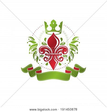Retro vintage Insignia created with lily flower and imperial crown. Vector product quality idea design element Fleur-De-Lis.