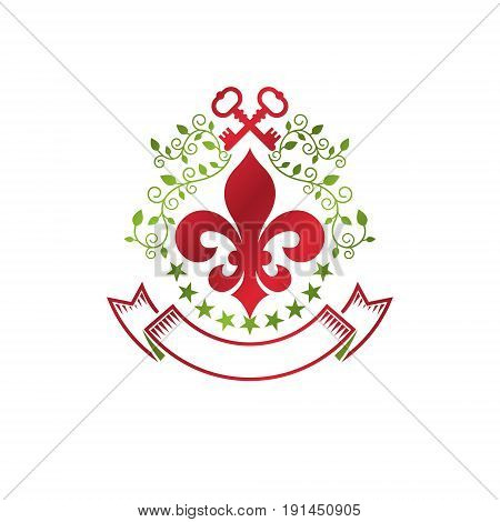 Vintage heraldic vector insignia composed with lily flower royal symbol and security keys. Environment protection theme illustration save ecology and nature design element.