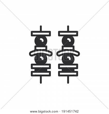 Brochette icon vector filled flat sign solid pictogram isolated on white. Kebab symbol logo illustration. Pixel perfect