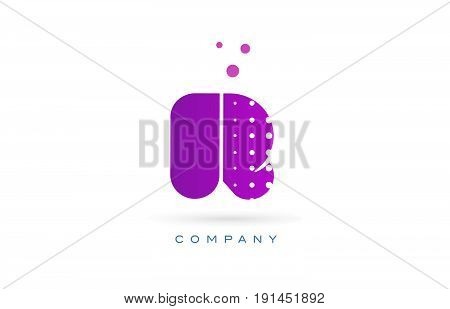 R Pink Dots Letter Logo Alphabet Icon