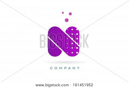 N Pink Dots Letter Logo Alphabet Icon