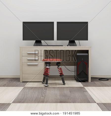 Computer Workstation 3D Render