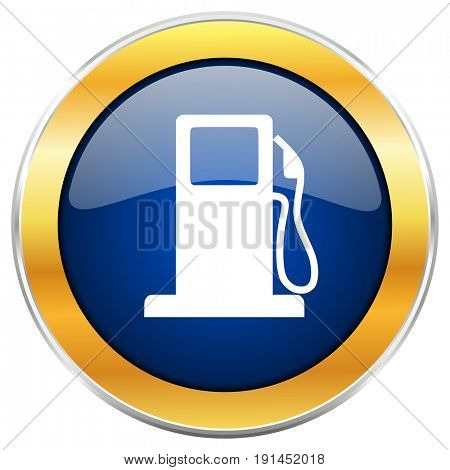 Petrol blue web icon with golden chrome metallic border isolated on white background for web and mobile apps designers.