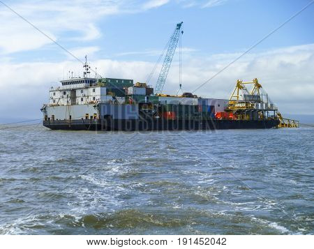 The Cargo Ship With The Crane, The Top View. Pipelaying Barge.