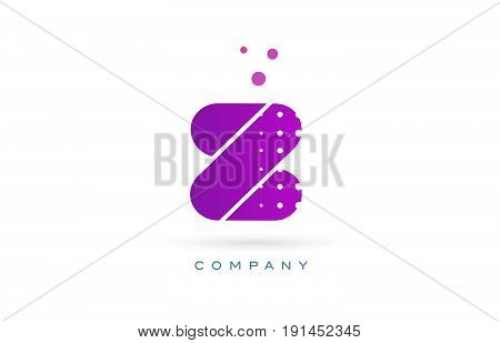 Z Pink Dots Letter Logo Alphabet Icon