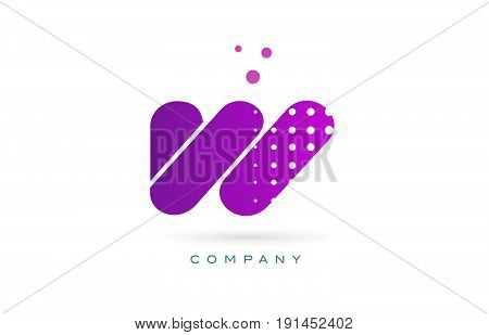 W Pink Dots Letter Logo Alphabet Icon