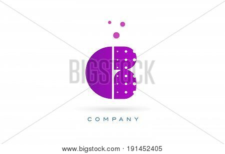 G Pink Dots Letter Logo Alphabet Icon