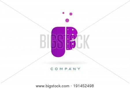 F Pink Dots Letter Logo Alphabet Icon