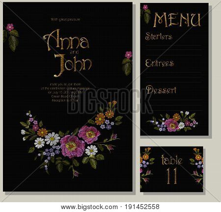 Floral Wedding Cards Design Suite Template. Rustic Field Flower Wild Rose Daisy Gerbera Herbs. Invit