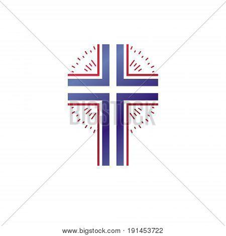 Cross of Christianity graphic emblem. Heraldic vector design element. Retro style label heraldry logo religious insignia.