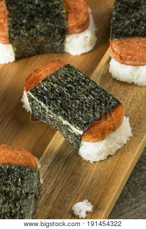 Homemade Healthy Musubi Rice And Meat Sandwich