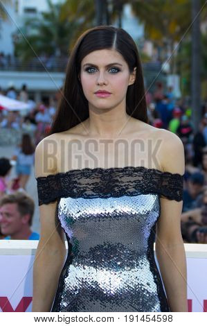 MIAMI, FL - MAY 13, 2017: Alexandra Daddario arrives at the premiere of Baywatch the movie on May 13, 2017, in Miami Florida.