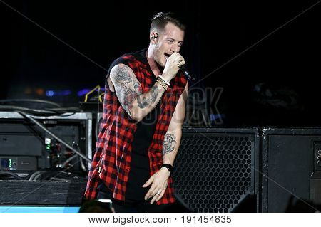 WANTAGH, NY-JUN 15: Tyler Hubbard of Florida Georgia Line perform in concert at Northwell Health at Jones Beach Theater on June 15, 2017 in Wantagh, New York.