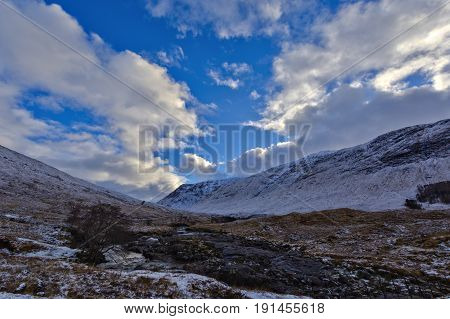 Winter Landscape Of Scottish Nature With Glencoe Mountains At Glen Etive
