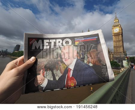 Newspaper Showing Jeremy Corbyn In London