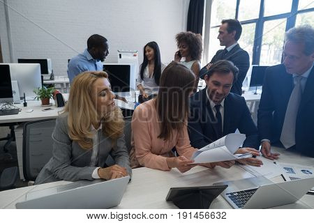 Mix Race Businesspeople Sitting At Table Talking Meeting Communication Discussion, Business Man And Woman Working Together Brainstorming Office Workers Concept