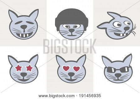 Cute cat muzzles. cat muzzles. Different Grimaces. Smiles cats icon set (sequel). Vector illustration.